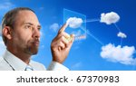 Businessman Works With Cloud...