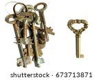 Small photo of Different keys pile of rusty old and one new shiny on white background contrast contradistinction symbol
