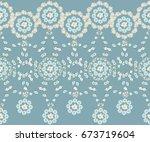 pretty vintage feedsack border... | Shutterstock . vector #673719604