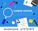 career advice word banner  with ... | Shutterstock .eps vector #673721815
