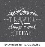 sketch of mountain. vector hand ...   Shutterstock .eps vector #673730251