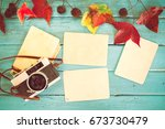 retro camera and empty old...   Shutterstock . vector #673730479