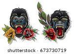 vector angry monkey tattoo... | Shutterstock .eps vector #673730719