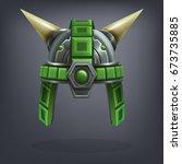 iron fantasy armor helmet for... | Shutterstock .eps vector #673735885
