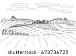 farm sketch. hand drawn... | Shutterstock .eps vector #673736725