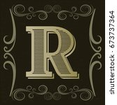 alphabet vintage font and... | Shutterstock .eps vector #673737364
