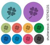 four leaf clover darker flat... | Shutterstock .eps vector #673742131