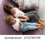 portrait of cute little girls... | Shutterstock . vector #673745749