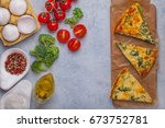 omelet with broccoli with... | Shutterstock . vector #673752781