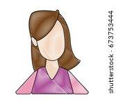 portrait woman young cartoon... | Shutterstock .eps vector #673753444