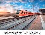 high speed commuter train in... | Shutterstock . vector #673755247