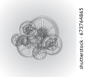 drawing gears on a gray... | Shutterstock .eps vector #673764865