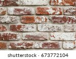Red Brick Wall With White Paint....