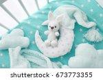 adorable handmade crochet toy...   Shutterstock . vector #673773355
