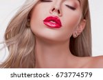 sexy sensual red lip  mouth... | Shutterstock . vector #673774579