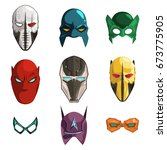 superhero mask on face and eyes ... | Shutterstock .eps vector #673775905