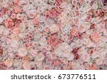 Stock photo background of pink orange and peach roses beautiful flowers background for wedding scene 673776511