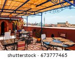 Small photo of roof at traditional riad house in marrakech, morocco