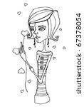 illustrated cute little girl...   Shutterstock . vector #67378054