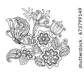 hand drawn flowers and... | Shutterstock .eps vector #673799149