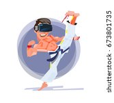 judo or taekwondo fighter... | Shutterstock .eps vector #673801735