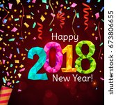 happy new year 2018 greeting... | Shutterstock .eps vector #673806655