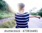 the man is stretching before... | Shutterstock . vector #673816681