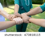 doctors and nurses in a medical ... | Shutterstock . vector #673818115