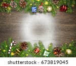 christmas background and... | Shutterstock . vector #673819045
