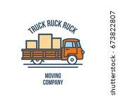 truck with cargo. moving... | Shutterstock .eps vector #673822807