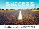 concept of follow the right way ... | Shutterstock . vector #673826281