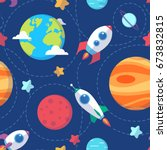 seamless space pattern. planets ... | Shutterstock .eps vector #673832815