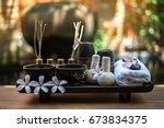 thai spa massage compress balls ... | Shutterstock . vector #673834375
