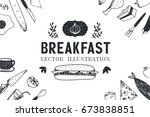 raster copy. breakfast  food... | Shutterstock . vector #673838851