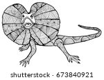 a paid lizard. lizard doodle.... | Shutterstock .eps vector #673840921