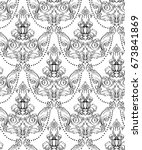 rococo damask pattern vector... | Shutterstock .eps vector #673841869