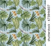 tropical pirate jungle leaves... | Shutterstock . vector #673846837