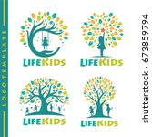 set tree life kids logo template | Shutterstock .eps vector #673859794
