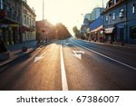 City Road in the Morning. - stock photo