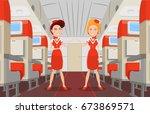flight attendants greet... | Shutterstock .eps vector #673869571