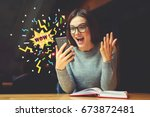 surprised young female blogger... | Shutterstock . vector #673872481