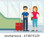 happy young tourist couple in... | Shutterstock .eps vector #673873129