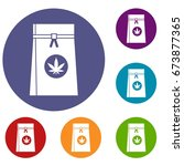 bag with cannabis icons set in... | Shutterstock .eps vector #673877365