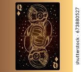 queen of diamonds. playing card ... | Shutterstock .eps vector #673880527