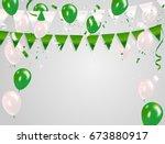 green white balloons  confetti... | Shutterstock .eps vector #673880917