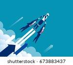 growth. robot to success.... | Shutterstock .eps vector #673883437
