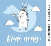 dream away typography and... | Shutterstock .eps vector #673887679