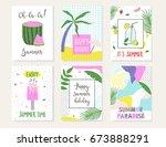 set of summer cards. vector... | Shutterstock .eps vector #673888291