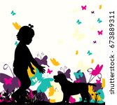 vector silhouette of a child... | Shutterstock .eps vector #673889311