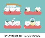 brushing make hurt gum and... | Shutterstock .eps vector #673890409